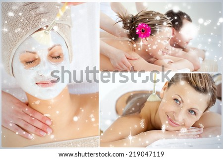 Collage of an attractive couple having relaxation treatments against snow falling - stock photo
