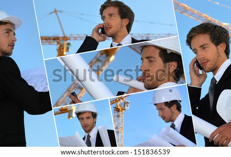 Collage of an engineer working on-site - stock photo