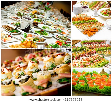 Collage of appetizers  - stock photo