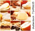 Collage of apple pie and various ingredients. - stock photo