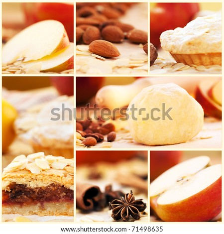 Collage of apple pie and various ingredients.