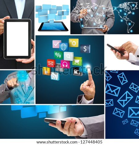 Collage of application connection in the global social networks - stock photo