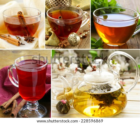 collage of assortment of tea in cups with herbs and spices - stock photo