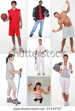 Collage of athletic people - stock photo