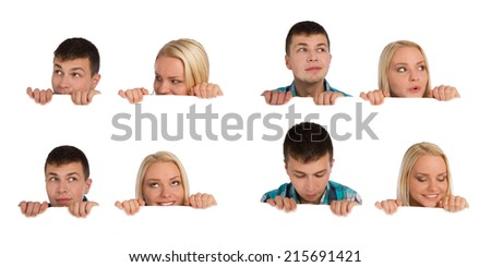 Collage of attractive couple with empty blank  - stock photo