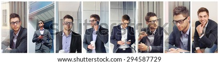 collage of attractive urban young businessman, business concept