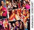 Collage of attractive young people dancing at disco and having fun - stock