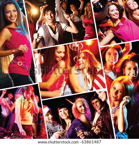 Collage of attractive young people dancing at disco and having fun