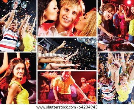 Collage of attractive young people enjoying party and deejay at work - stock photo