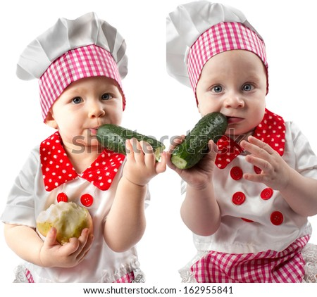 Collage of Baby cook boy and girl wearing chef hat with fresh vegetables  Use it for a child, healthy food concept - stock photo