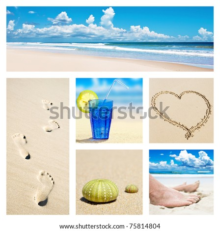 Collage of beach holiday scenes - stock photo