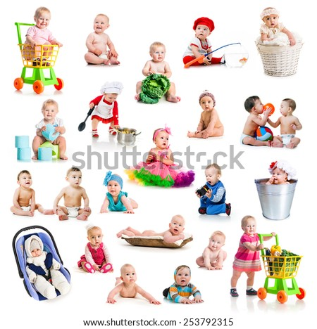 collage of beautiful and happy babies  with color toys on white background - stock photo