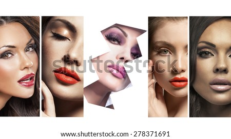 Collage of beautiful beauty portraits - stock photo