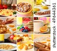 Collage of beautiful breakfast images. - stock photo