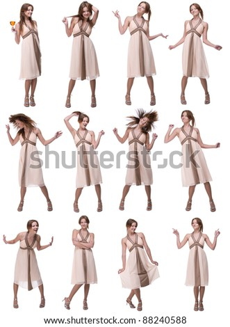 Collage of beautiful emotional dancing woman isolated on white - stock photo