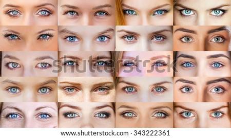 Collage of beautiful female blue eye - stock photo
