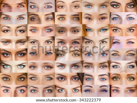 Collage of beautiful female eyes of different colors