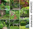 Collage of beautiful gardens in spring. - stock photo