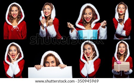 Collage of beautiful mixed-race santa girl on white background. Young sexy brunette woman wearing santa claus clothes - stock photo