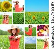 Collage of beautiful summer girl and flowers - stock photo
