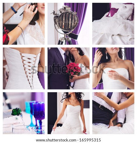 collage of beautiful violet wedding
