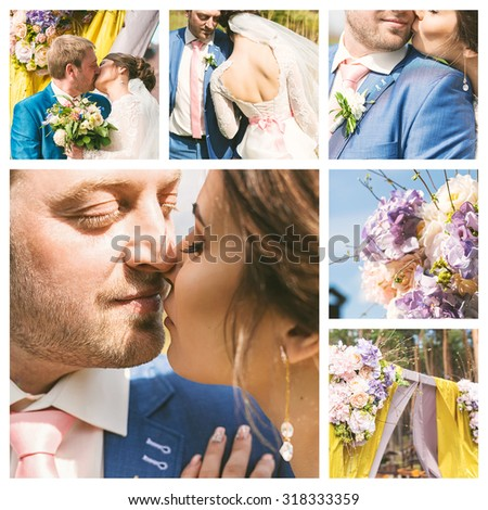 collage of beautiful wedding in yellow and blue colors at sunny day