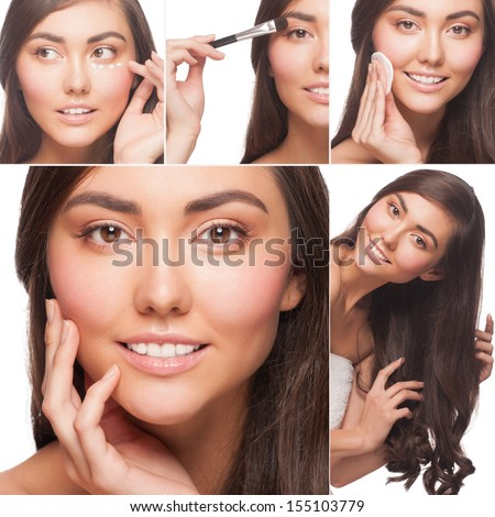 Collage of beautiful woman have care to her skin and hair, healthcare and beauty concepts - stock photo