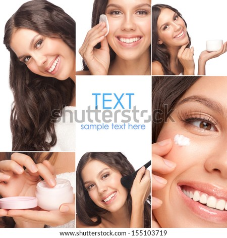 Collage of beautiful woman in different perspectives, healthcare and beauty concepts - stock photo