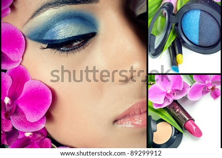 Collage of beautiful woman's face with bright makeup and cosmetics - stock photo