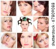 Collage of beautiful women's faces. - stock photo