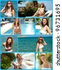 Collage of beautiful young woman having rest on summer resort - stock photo