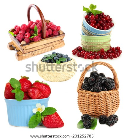 Collage of berries isolated on white - stock photo