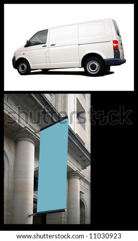 collage of billboard type shots with white van and empty sign. Just CLICK on the white outside the van or the blue in the flag for a path - stock photo
