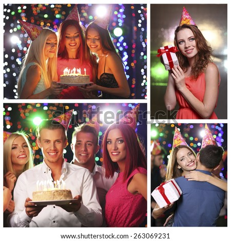Collage of birthday party in club - stock photo