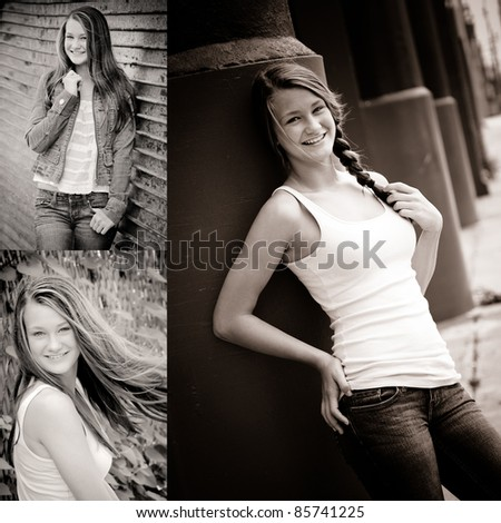 collage of black and white photos fashionable teen girl - stock photo