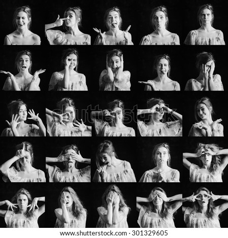 Collage of black and white photos of woman different facial expressions - stock photo