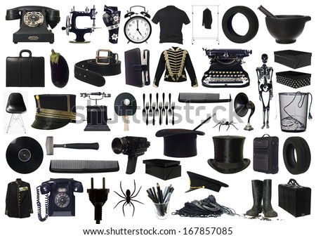 Collage of Black objects on white background - stock photo