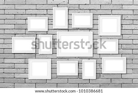 Collage Of Blank Photo Frames On Bricks Wall, Interior Decoration Mockup.  3d Illustration