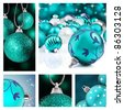 Collage of blue  christmas decorations on different backgrounds - stock photo
