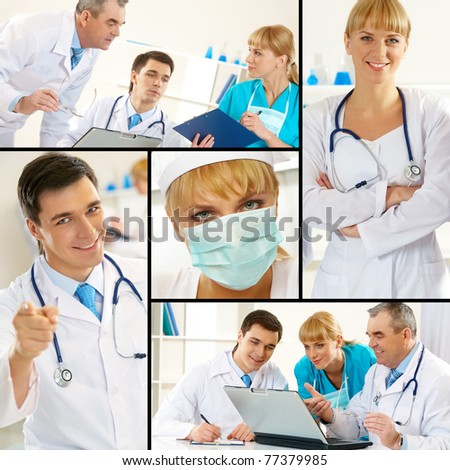 Collage of blue collar workers in working environment - stock photo