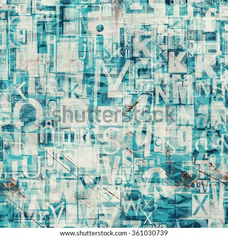Collage of blue newspaper, magazine letters on painted cracked scratched background - stock photo