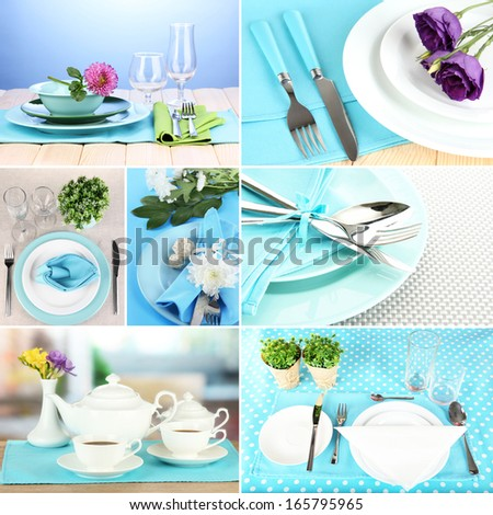 Collage of blue table setting - stock photo