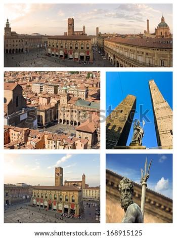 collage of bologna, emilia romagna - italy - stock photo