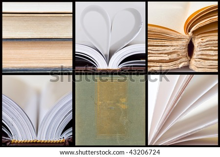 collage of book pages - stock photo