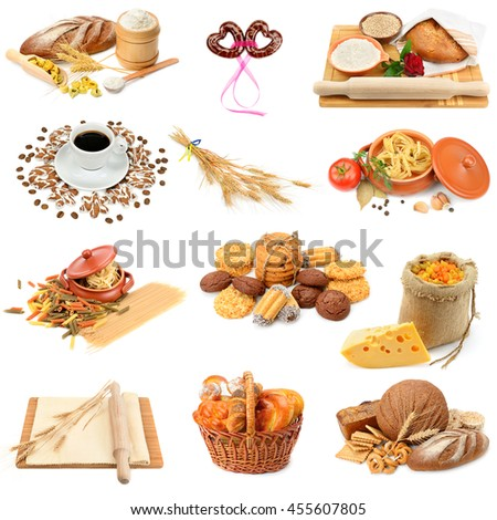 collage of bread, pasta, cakes and biscuits isolated on white background - stock photo