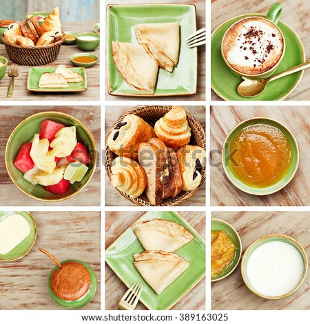 Collage of Breakfast in the garden with coffee and a simple food. Good mood for all day. - stock photo