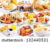 collage of breakfast with eggs, coffee, croissants, pastry and fruits - stock photo