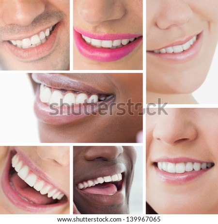 Collage of bright white smiles on white background