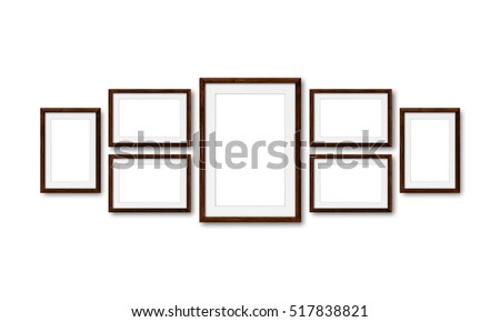 Collage of brown wooden frames , interior decor mock up