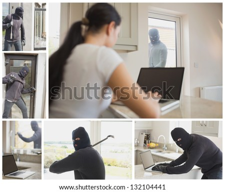 Collage of burglar activity in womans home - stock photo